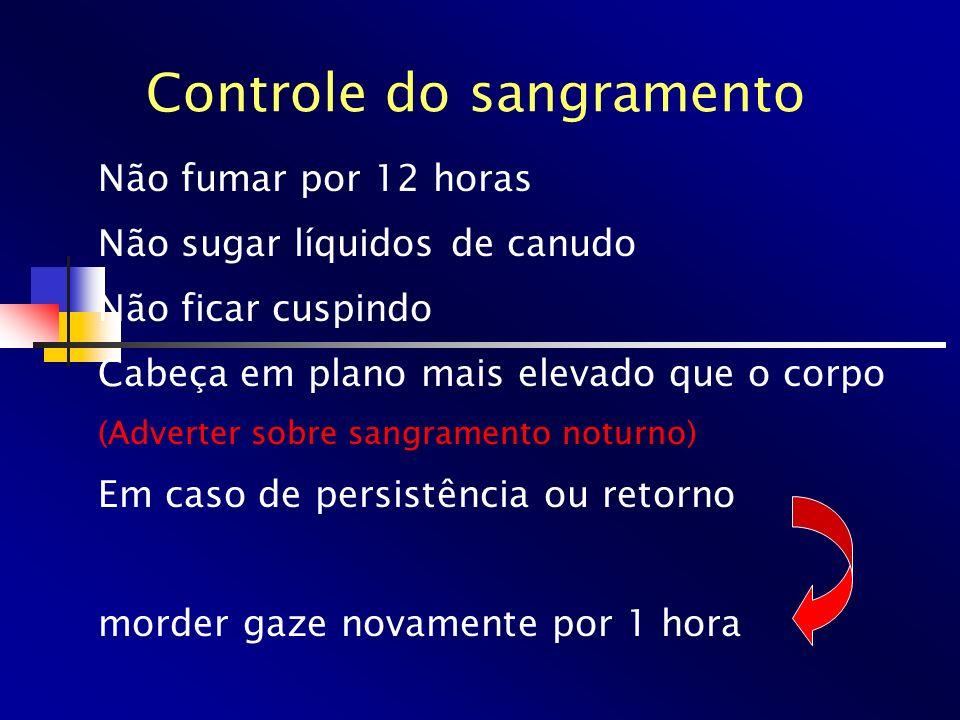 Controle do sangramento Não fumar por 12 horas Não sugar líquidos de canudo Não ficar cuspindo Cabeça em plano mais elevado que o corpo (Adverter sobr