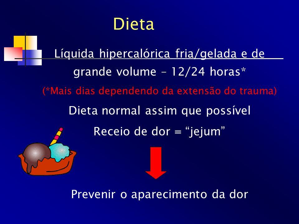 Dieta Líquida hipercalórica fria/gelada e de grande volume – 12/24 horas* (*Mais dias dependendo da extensão do trauma) Dieta normal assim que possíve