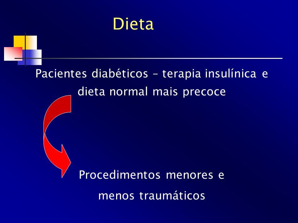 Dieta Pacientes diabéticos – terapia insulínica e dieta normal mais precoce Procedimentos menores e menos traumáticos