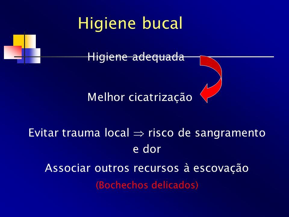 Higiene bucal Higiene adequada Melhor cicatrização Evitar trauma local risco de sangramento e dor Associar outros recursos à escovação (Bochechos deli