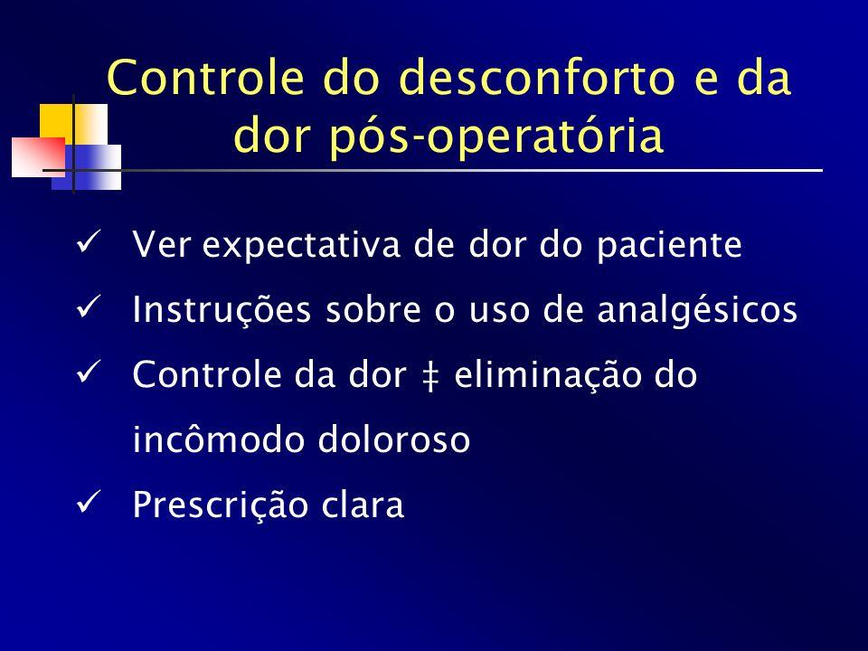 Controle do desconforto e da dor pós-operatória Ver expectativa de dor do paciente Instruções sobre o uso de analgésicos Controle da dor eliminação do