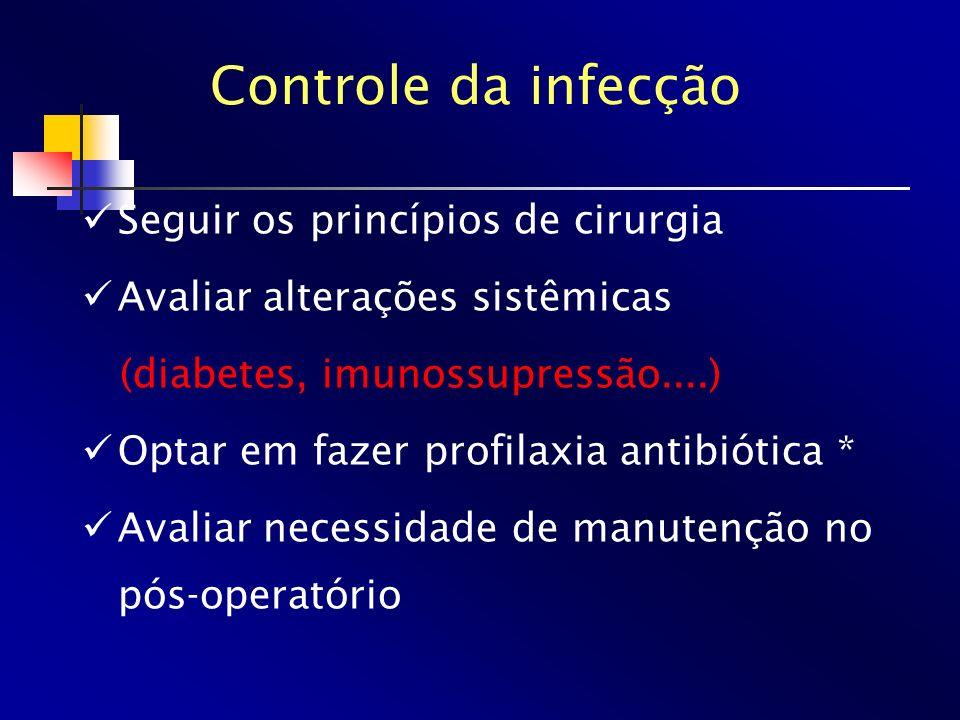 Seguir os princípios de cirurgia Avaliar alterações sistêmicas (diabetes, imunossupressão....) Optar em fazer profilaxia antibiótica * Avaliar necessi
