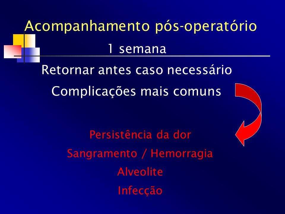 1 semana Retornar antes caso necessário Complicações mais comuns Acompanhamento pós-operatório Persistência da dor Sangramento / Hemorragia Alveolite
