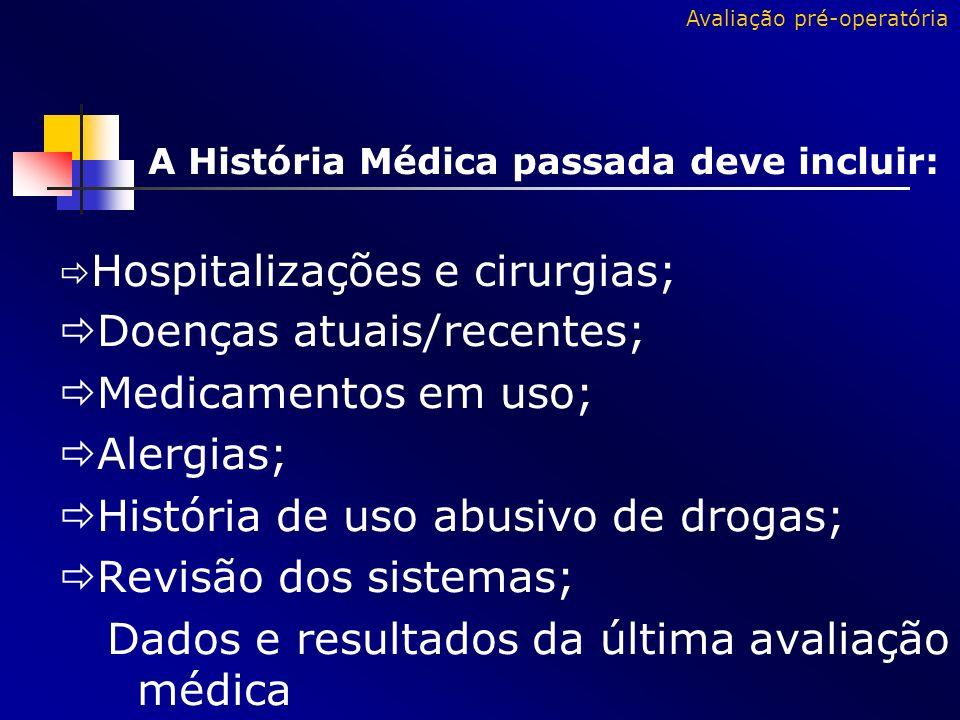 A História Médica passada deve incluir: Hospitalizações e cirurgias; Doenças atuais/recentes; Medicamentos em uso; Alergias; História de uso abusivo d