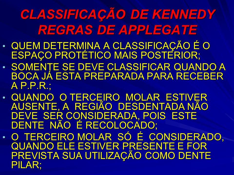 CLASSIFICAÇÃO DE KENNEDY REGRAS DE APPLEGATE QUEM DETERMINA A CLASSIFICAÇÃO É O ESPAÇO PROTÉTICO MAIS POSTERIOR; QUEM DETERMINA A CLASSIFICAÇÃO É O ES