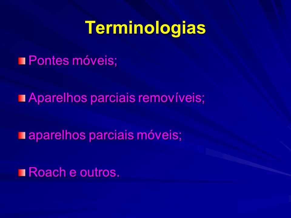 Terminologias Pontes móveis; Aparelhos parciais removíveis; aparelhos parciais móveis; Roach e outros.