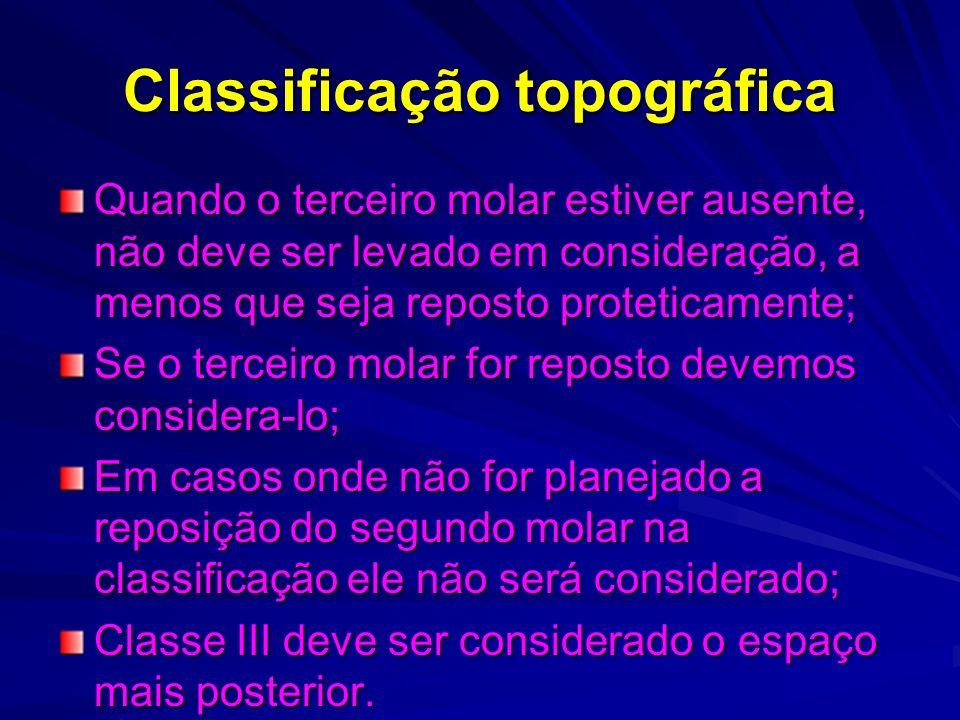 Classificação de Cummer Classe I e II misto de dental e fibromucoso, com movimentos rotacionais; Classe III e IV sem eixos rotacionais; Diagonal;Diametral; Unilateral III; Multilateral IV;
