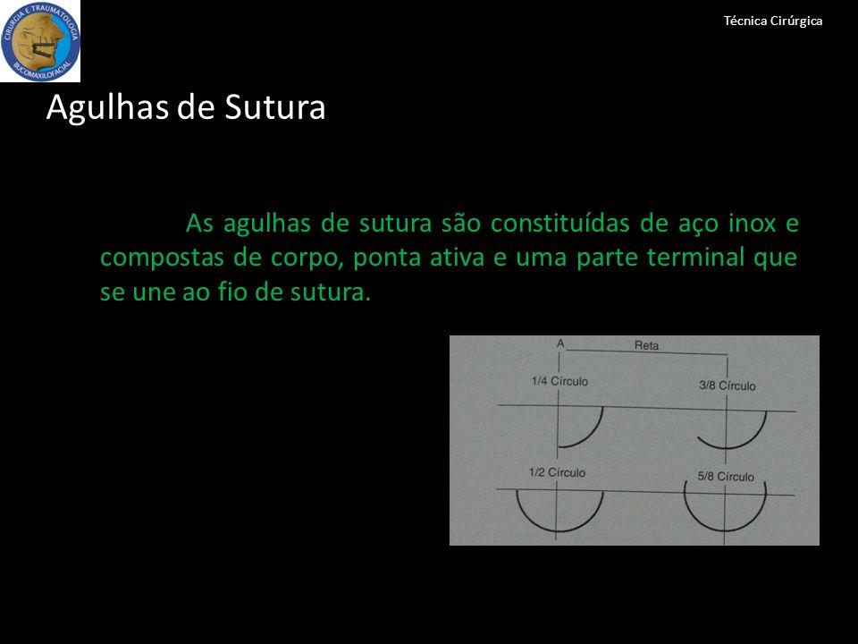 Técnica Cirúrgica Agulhas de Sutura As agulhas de sutura são constituídas de aço inox e compostas de corpo, ponta ativa e uma parte terminal que se un