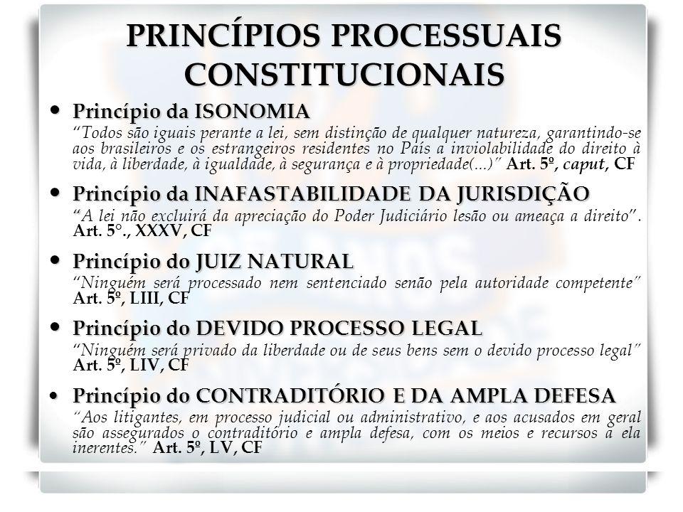 PRINCÍPIOS PROCESSUAIS CONSTITUCIONAIS Princípio da ISONOMIA Princípio da ISONOMIA Todos são iguais perante a lei, sem distinção de qualquer natureza,