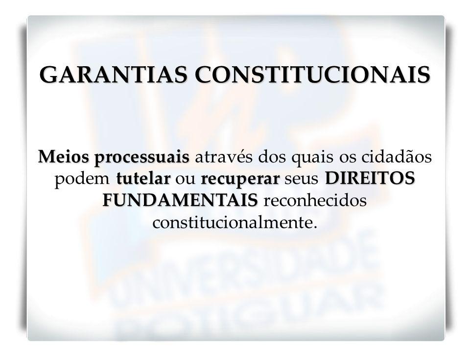 GARANTIAS CONSTITUCIONAIS Meios processuais tutelarrecuperarDIREITOS FUNDAMENTAIS Meios processuais através dos quais os cidadãos podem tutelar ou rec