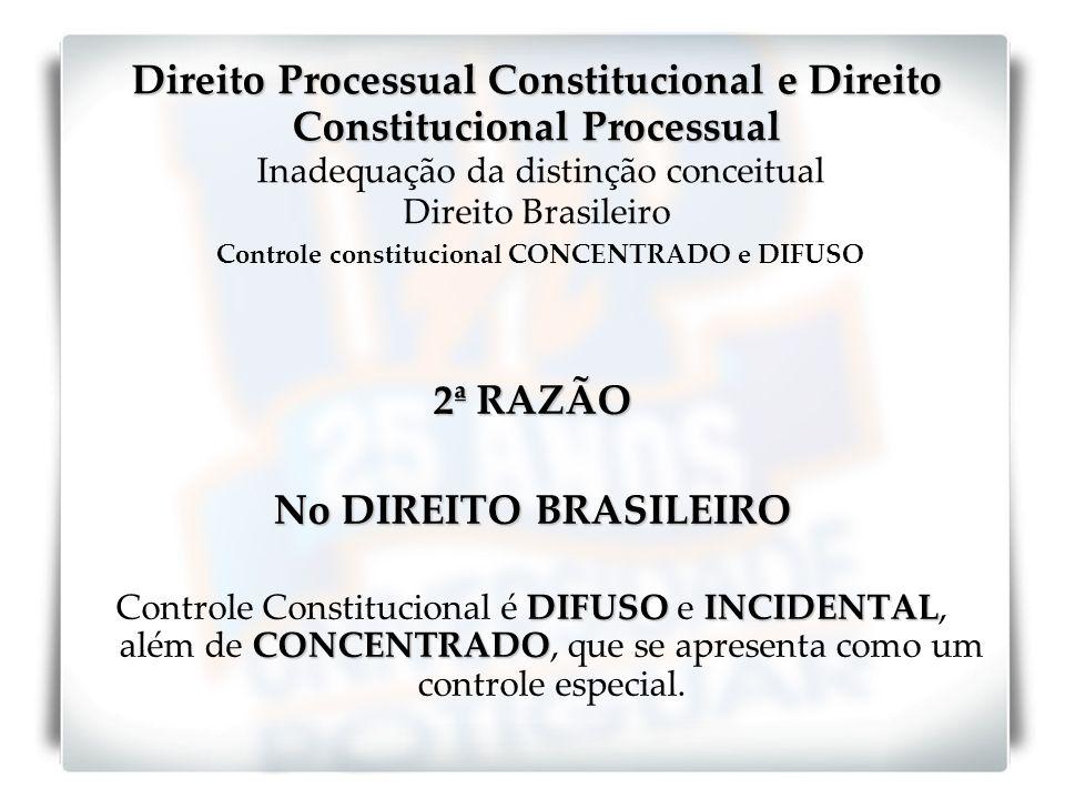 2ª RAZÃO No DIREITO BRASILEIRO DIFUSOINCIDENTAL CONCENTRADO Controle Constitucional é DIFUSO e INCIDENTAL, além de CONCENTRADO, que se apresenta como