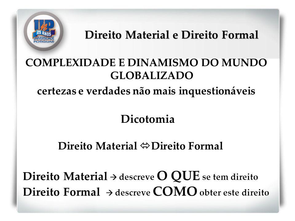 Direito Material e Direito Formal COMPLEXIDADE E DINAMISMO DO MUNDO GLOBALIZADO certezas e verdades não mais inquestionáveis Dicotomia Direito Materia