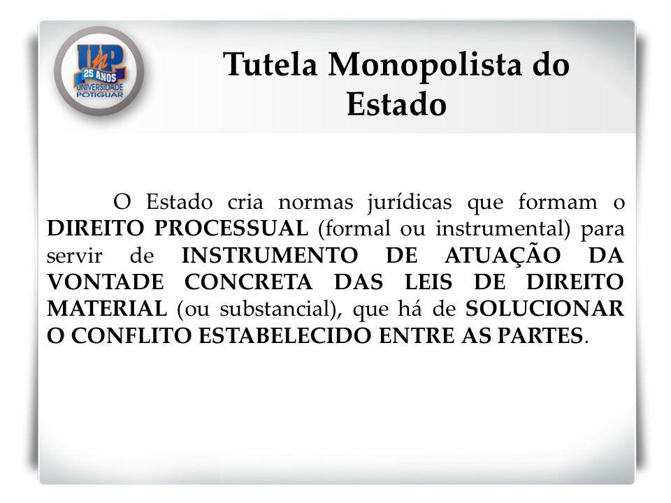 O Estado cria normas jurídicas que formam o DIREITO PROCESSUAL (formal ou instrumental) para servir de INSTRUMENTO DE ATUAÇÃO DA VONTADE CONCRETA DAS