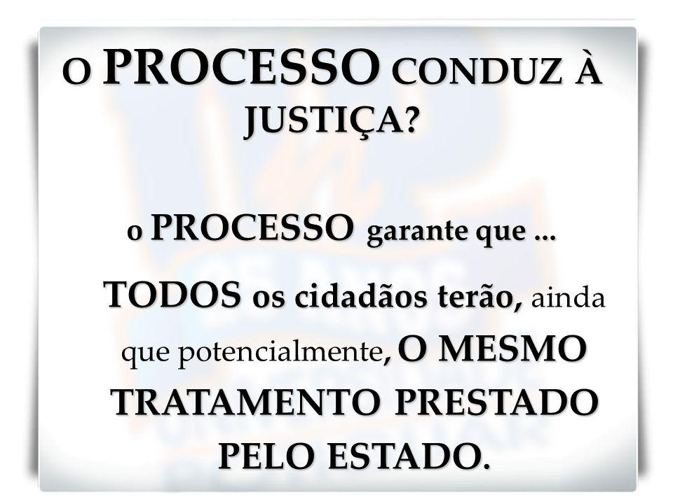O PROCESSO CONDUZ À JUSTIÇA? o PROCESSO garante que... TODOS os cidadãos terão,, O MESMO TRATAMENTO PRESTADO PELO ESTADO. TODOS os cidadãos terão, ain