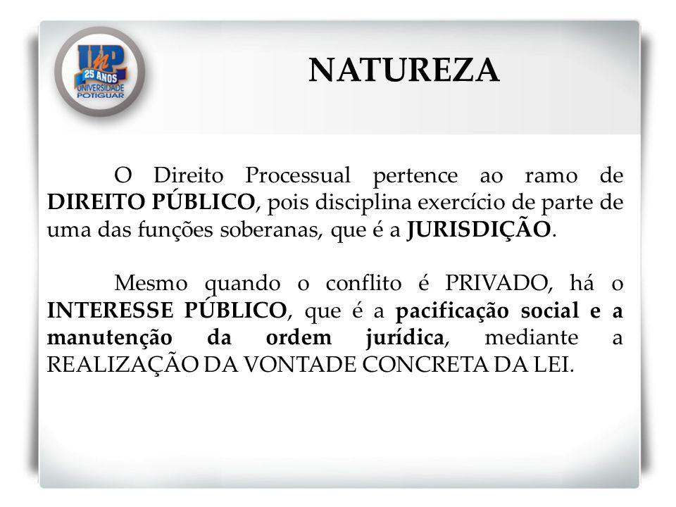 O Direito Processual pertence ao ramo de DIREITO PÚBLICO, pois disciplina exercício de parte de uma das funções soberanas, que é a JURISDIÇÃO. Mesmo q