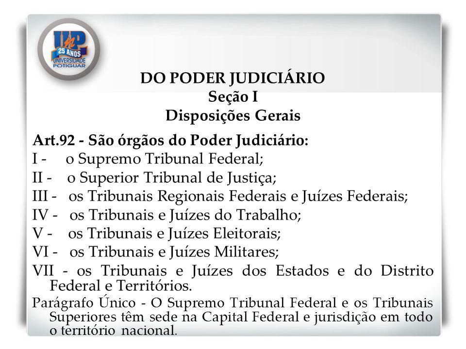 DO PODER JUDICIÁRIO Seção I Disposições Gerais Art.92 - São órgãos do Poder Judiciário: I - o Supremo Tribunal Federal; II - o Superior Tribunal de Ju