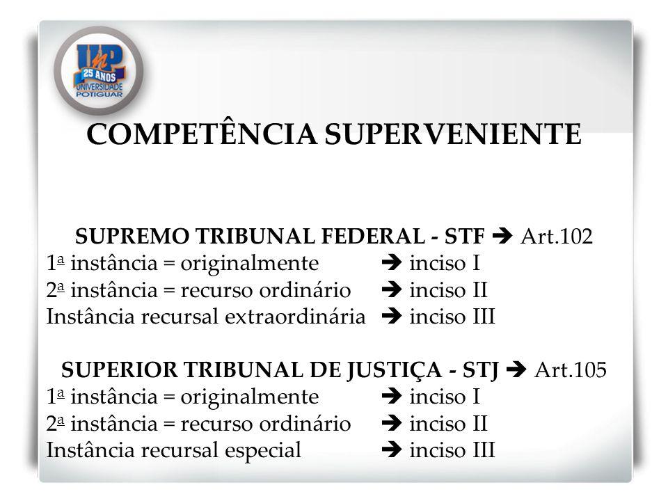 COMPETÊNCIA SUPERVENIENTE SUPREMO TRIBUNAL FEDERAL - STF Art.102 1 a instância = originalmente inciso I 2 a instância = recurso ordinário inciso II In