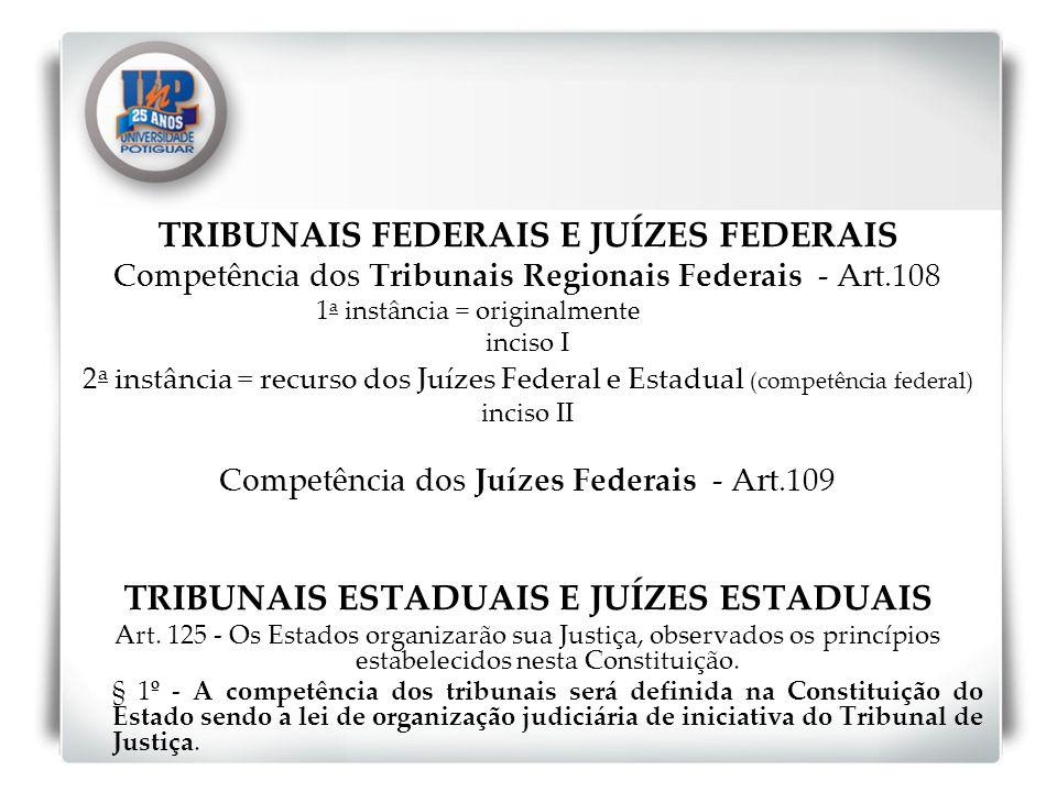 TRIBUNAIS FEDERAIS E JUÍZES FEDERAIS Competência dos Tribunais Regionais Federais - Art.108 1 a instância = originalmente inciso I 2 a instância = rec