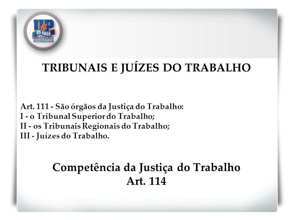 TRIBUNAIS E JUÍZES DO TRABALHO Art. 111 - São órgãos da Justiça do Trabalho: I - o Tribunal Superior do Trabalho; II - os Tribunais Regionais do Traba