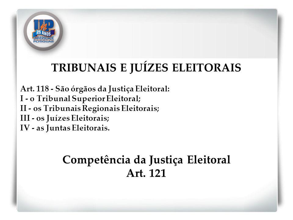 TRIBUNAIS E JUÍZES ELEITORAIS Art. 118 - São órgãos da Justiça Eleitoral: I - o Tribunal Superior Eleitoral; II - os Tribunais Regionais Eleitorais; I