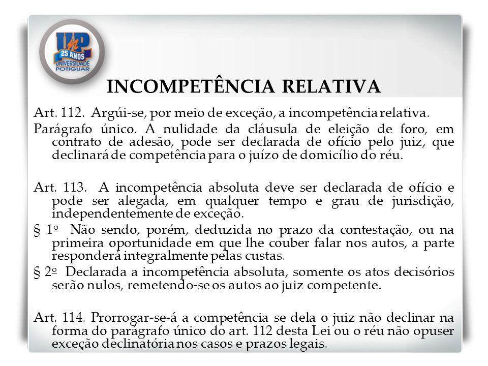 INCOMPETÊNCIA RELATIVA Art. 112. Argúi-se, por meio de exceção, a incompetência relativa. Parágrafo único. A nulidade da cláusula de eleição de foro,