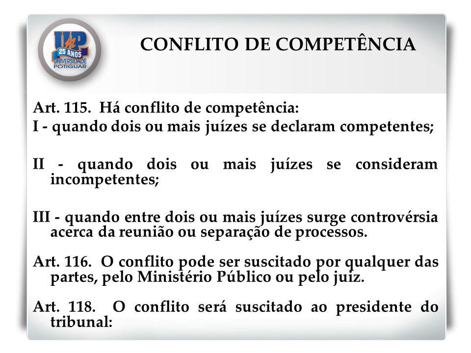 Art. 115. Há conflito de competência: I - quando dois ou mais juízes se declaram competentes; II - quando dois ou mais juízes se consideram incompeten