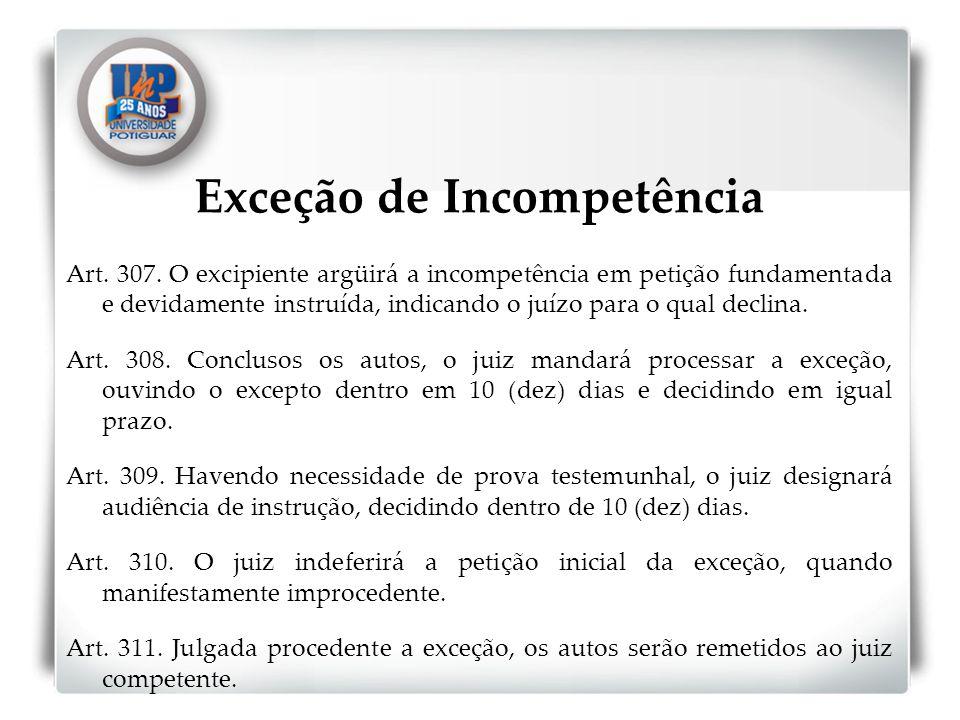 Exceção de Incompetência Art. 307. O excipiente argüirá a incompetência em petição fundamentada e devidamente instruída, indicando o juízo para o qual