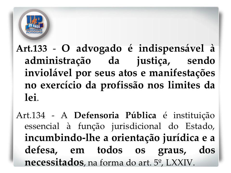Art.133 - O advogado é indispensável à administração da justiça, sendo inviolável por seus atos e manifestações no exercício da profissão nos limites