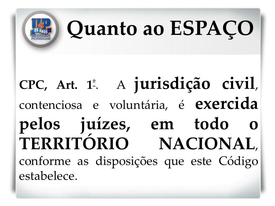 CPC, Art. 1 º. A jurisdição civil, contenciosa e voluntária, é exercida pelos juízes, em todo o TERRITÓRIO NACIONAL, conforme as disposições que este