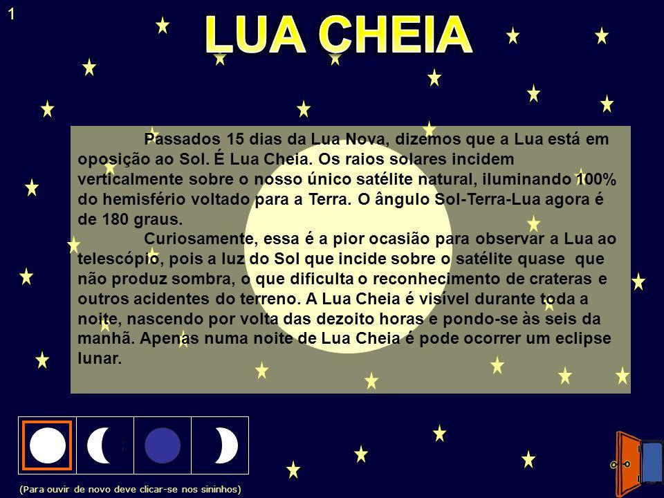 (Para ouvir de novo deve clicar-se nos sininhos) 1 Passados 15 dias da Lua Nova, dizemos que a Lua está em oposição ao Sol. É Lua Cheia. Os raios sola