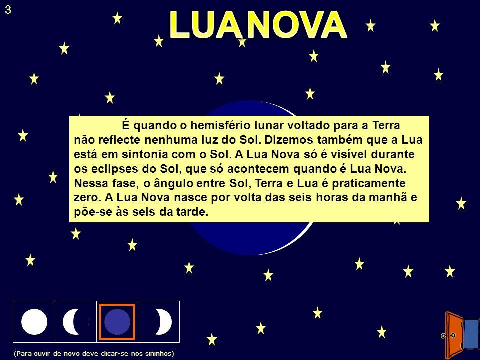 (Para ouvir de novo deve clicar-se nos sininhos) 3 É quando o hemisfério lunar voltado para a Terra não reflecte nenhuma luz do Sol. Dizemos também qu