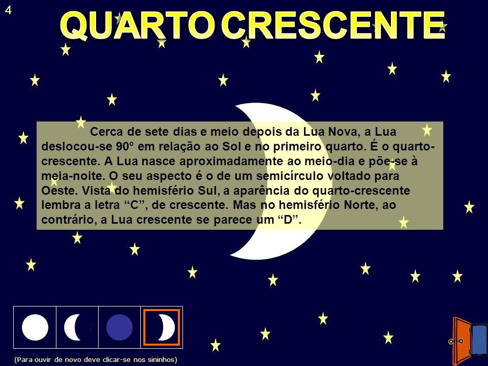 (Para ouvir de novo deve clicar-se nos sininhos) 4 Cerca de sete dias e meio depois da Lua Nova, a Lua deslocou-se 90° em relação ao Sol e no primeiro