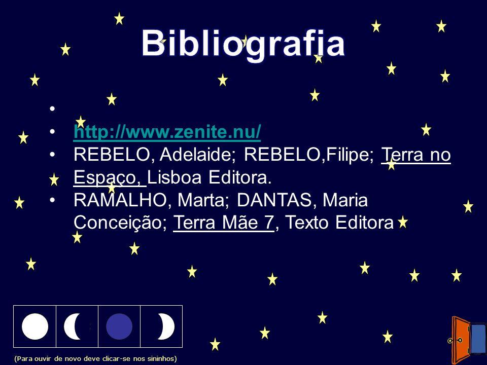 (Para ouvir de novo deve clicar-se nos sininhos) http://www.zenite.nu/ REBELO, Adelaide; REBELO,Filipe; Terra no Espaço, Lisboa Editora. RAMALHO, Mart