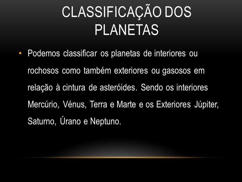 CLASSIFICAÇÃO DOS PLANETAS Podemos classificar os planetas de interiores ou rochosos como também exteriores ou gasosos em relação à cintura de asterói