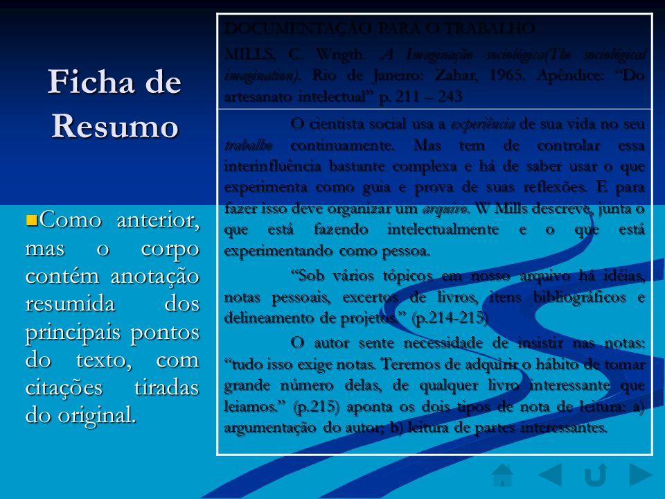 Ficha de Resumo Como anterior, mas o corpo contém anotação resumida dos principais pontos do texto, com citações tiradas do original. Como anterior, m