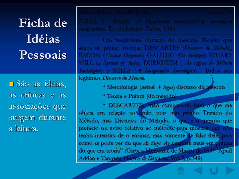 Ficha de Idéias Pessoais São as idéias, as críticas e as associações que surgem durante a leitura. São as idéias, as críticas e as associações que sur