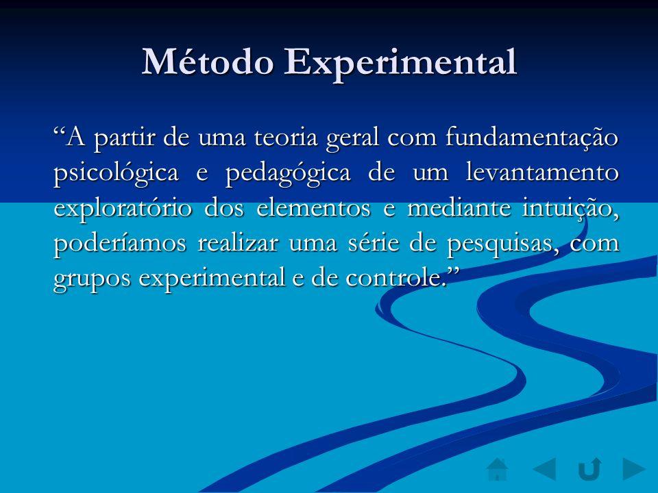 Método Experimental A partir de uma teoria geral com fundamentação psicológica e pedagógica de um levantamento exploratório dos elementos e mediante i