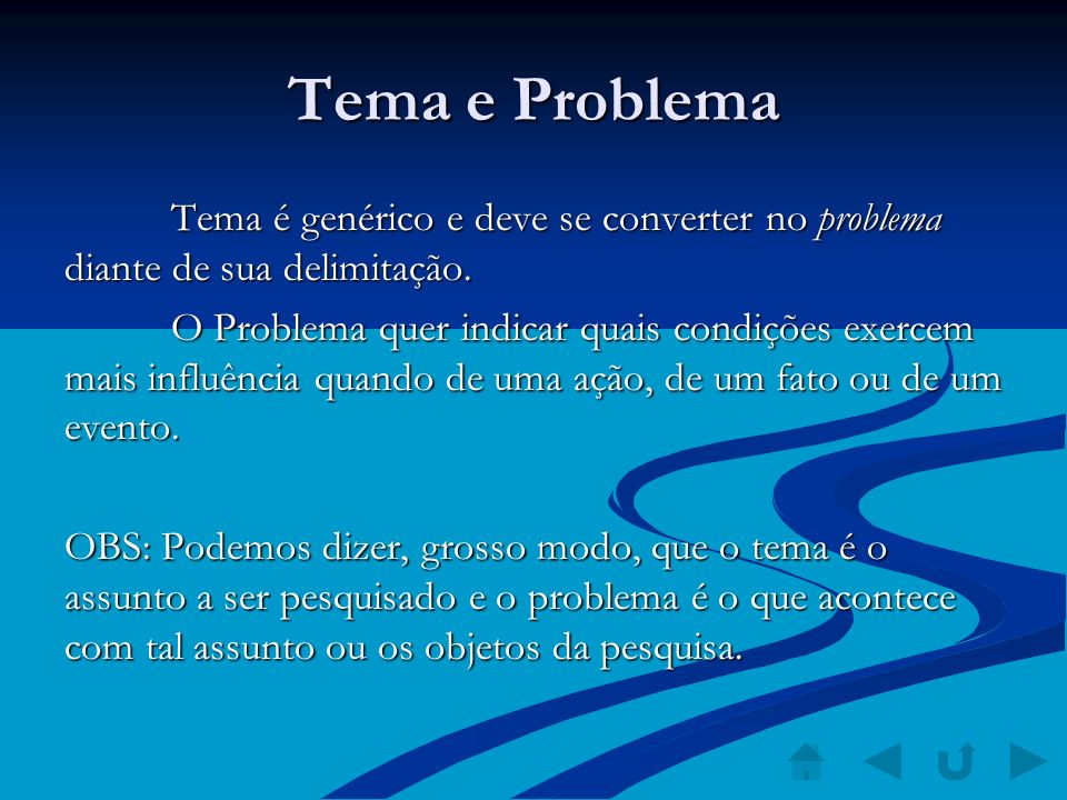 Tema e Problema Tema é genérico e deve se converter no problema diante de sua delimitação. O Problema quer indicar quais condições exercem mais influê