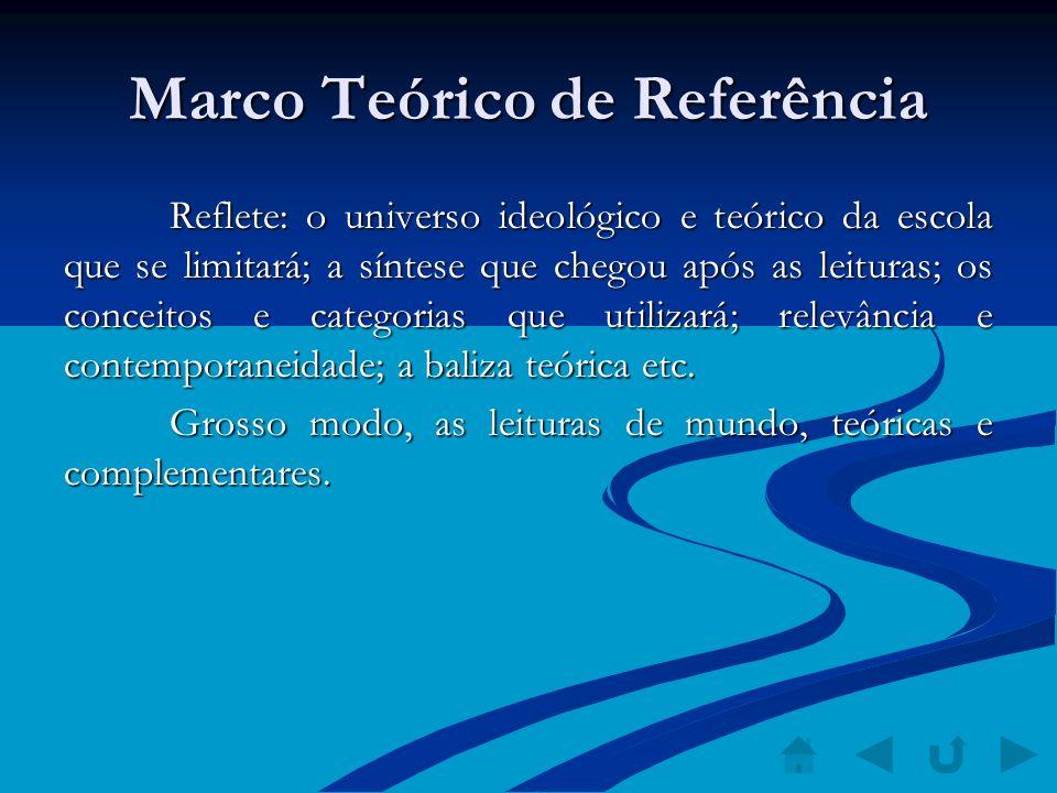 Marco Teórico de Referência Reflete: o universo ideológico e teórico da escola que se limitará; a síntese que chegou após as leituras; os conceitos e