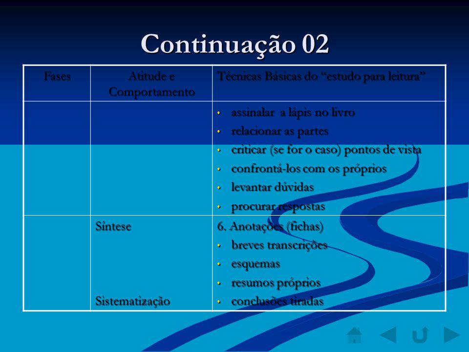 Continuação 02 Fases Atitude e Comportamento Técnicas Básicas do estudo para leitura assinalar a lápis no livro assinalar a lápis no livro relacionar