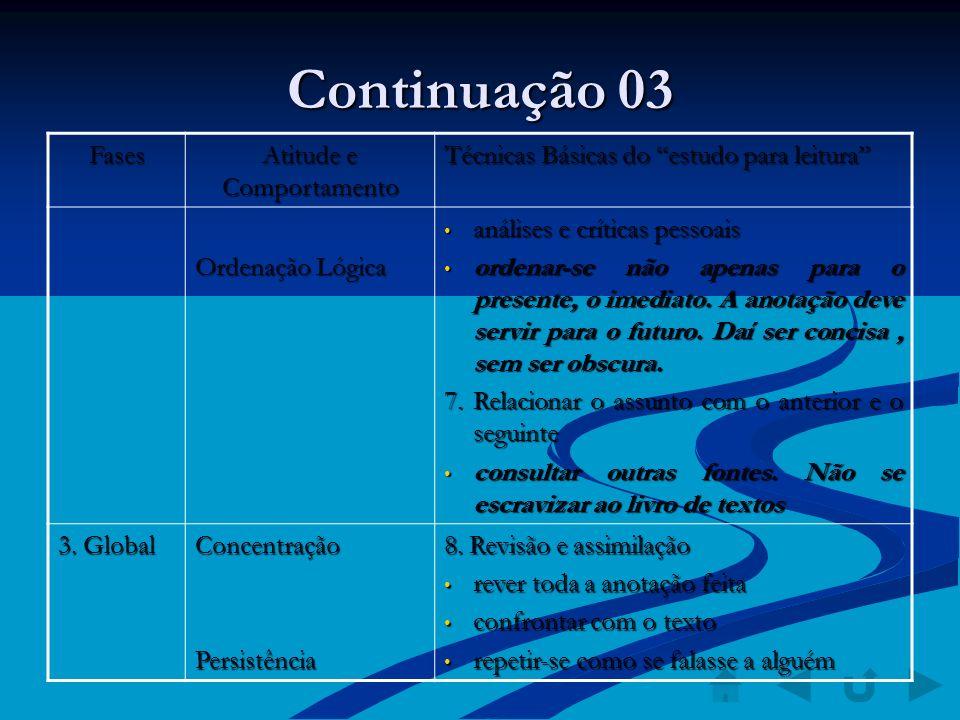 Continuação 03 Fases Atitude e Comportamento Técnicas Básicas do estudo para leitura Ordenação Lógica análises e críticas pessoais análises e críticas
