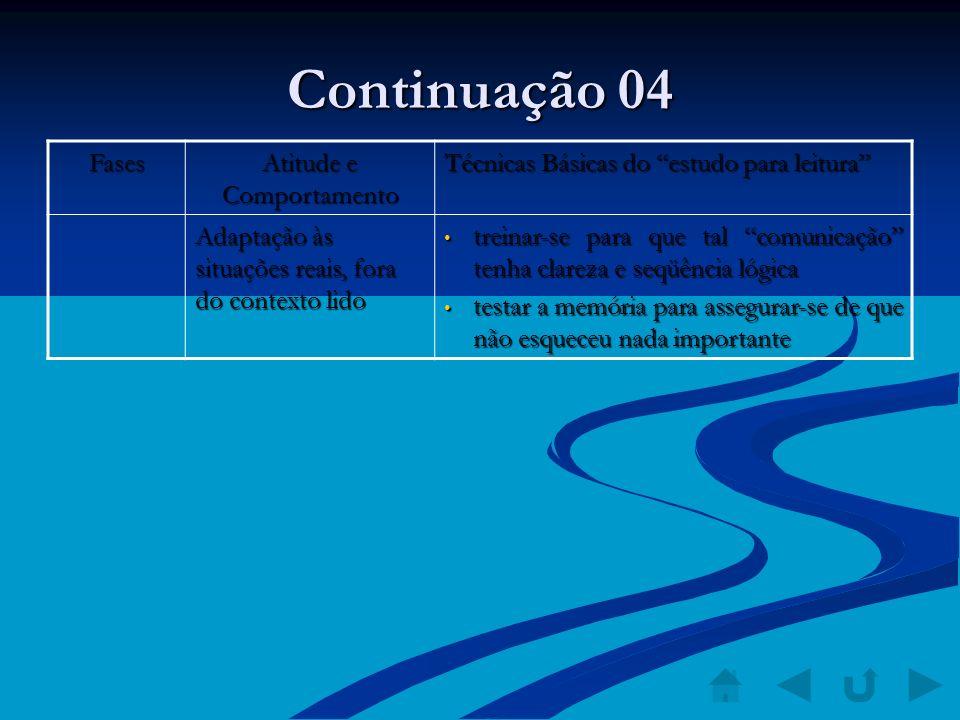 Continuação 04 Fases Atitude e Comportamento Técnicas Básicas do estudo para leitura Adaptação às situações reais, fora do contexto lido treinar-se pa