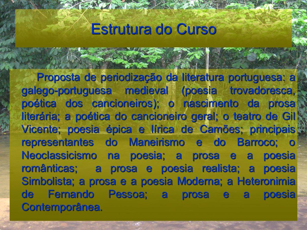 Estrutura do Curso Proposta de periodização da literatura portuguesa: a galego-portuguesa medieval (poesia trovadoresca, poética dos cancioneiros); o
