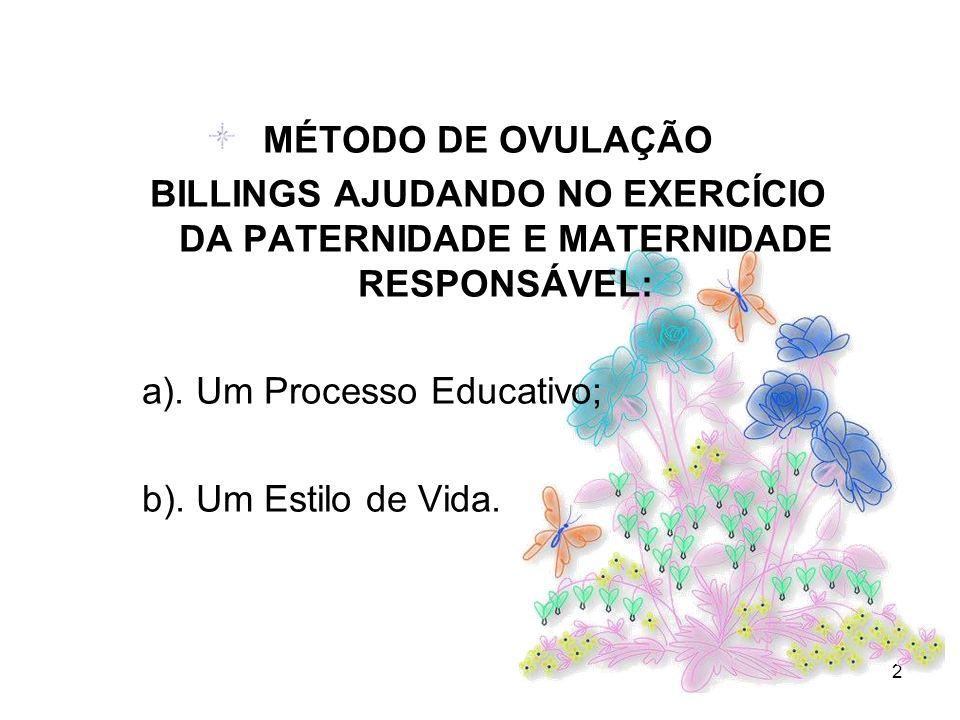 2 MÉTODO DE OVULAÇÃO BILLINGS AJUDANDO NO EXERCÍCIO DA PATERNIDADE E MATERNIDADE RESPONSÁVEL: a). Um Processo Educativo; b). Um Estilo de Vida.