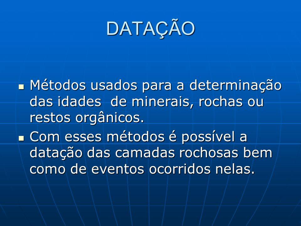 DATAÇÃO Métodos usados para a determinação das idades de minerais, rochas ou restos orgânicos.