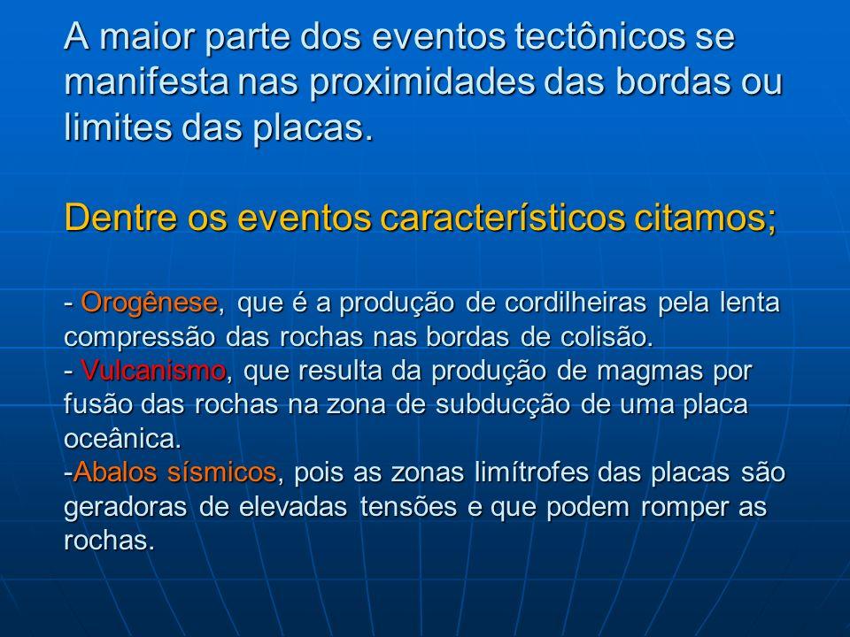 A maior parte dos eventos tectônicos se manifesta nas proximidades das bordas ou limites das placas.