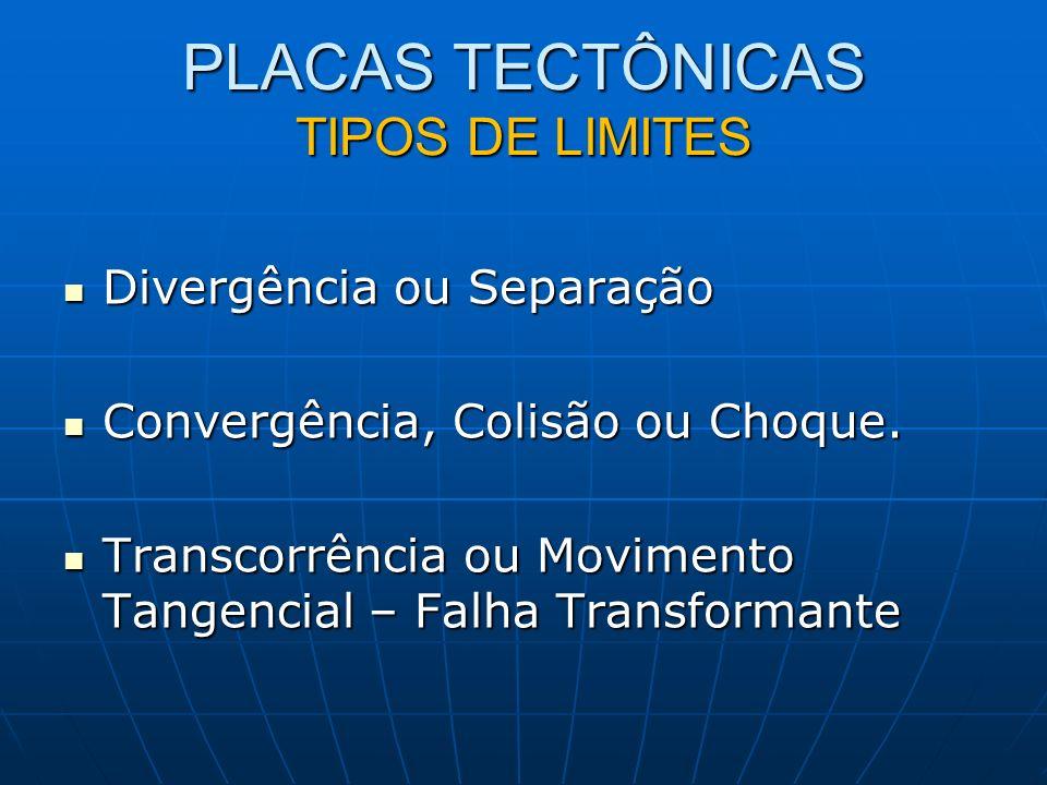 PLACAS TECTÔNICAS TIPOS DE LIMITES Divergência ou Separação Divergência ou Separação Convergência, Colisão ou Choque.
