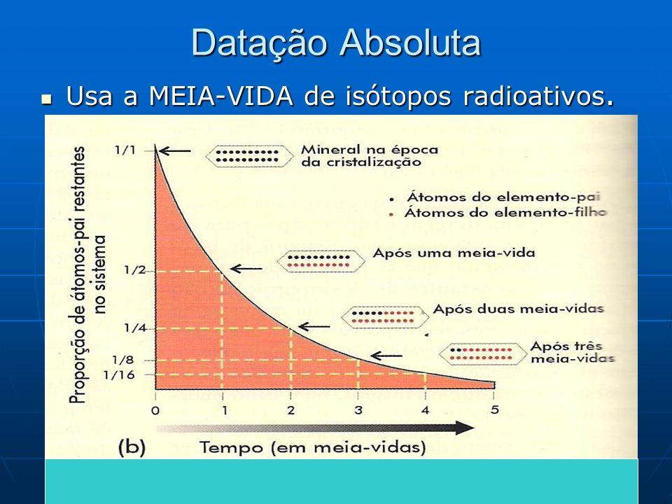 Datação Absoluta Usa a MEIA-VIDA de isótopos radioativos. Usa a MEIA-VIDA de isótopos radioativos.