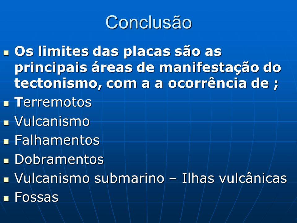Conclusão Os limites das placas são as principais áreas de manifestação do tectonismo, com a a ocorrência de ; Os limites das placas são as principais áreas de manifestação do tectonismo, com a a ocorrência de ; Terremotos Terremotos Vulcanismo Vulcanismo Falhamentos Falhamentos Dobramentos Dobramentos Vulcanismo submarino – Ilhas vulcânicas Vulcanismo submarino – Ilhas vulcânicas Fossas Fossas