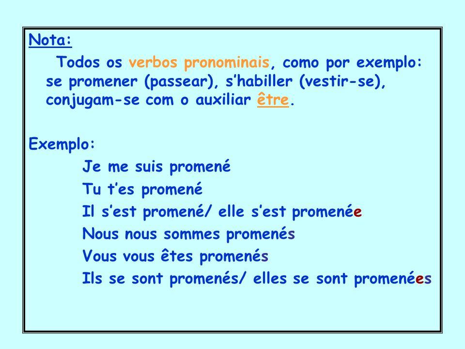 Nota: Todos os verbos pronominais, como por exemplo: se promener (passear), shabiller (vestir-se), conjugam-se com o auxiliar être. Exemplo: Je me sui